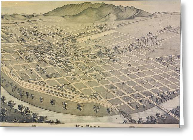 Vintage El Paso Map Greeting Card by Dan Sproul