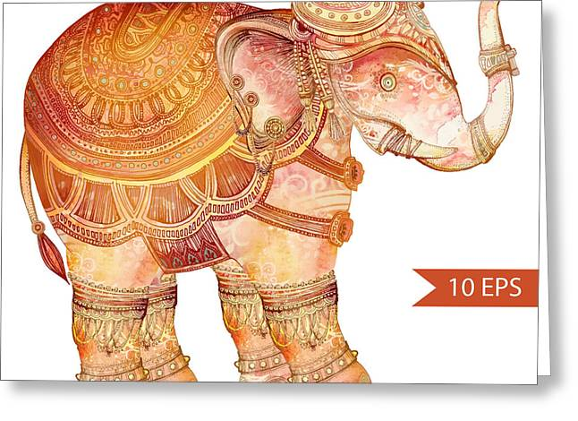 Vintage Elephant Illustration. Hand Greeting Card