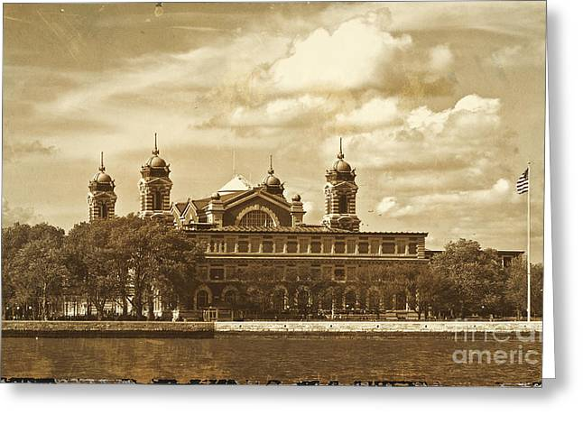 Greeting Card featuring the photograph Vintage Ellis Island by Eleanor Abramson