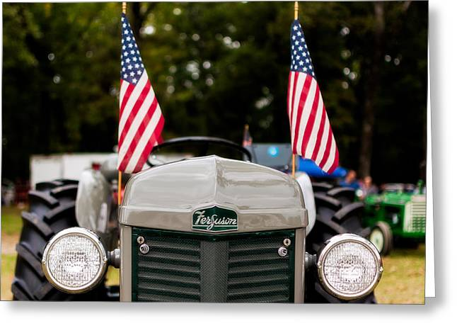 Vintage Ferguson Tractor With American Flags Greeting Card by Jon Woodhams