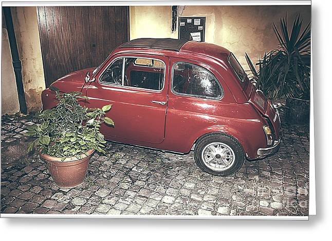 Vintage Fiat 500 Greeting Card by Stefano Senise