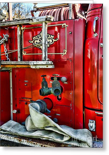 Vintage Fire Truck Greeting Card by Paul Ward