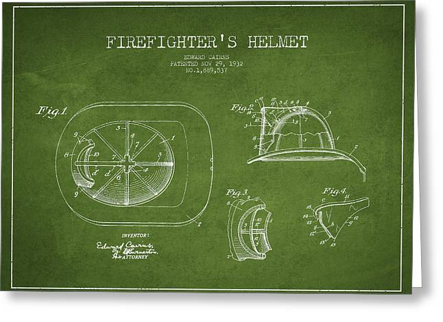Vintage Firefighter Helmet Patent Drawing From 1932 - Green Greeting Card by Aged Pixel