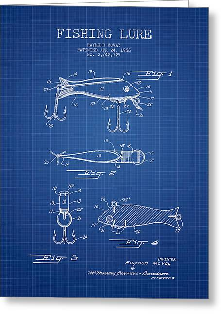 Vintage Fishing Lure Patent From 1956 - Blueprint Greeting Card by Aged Pixel
