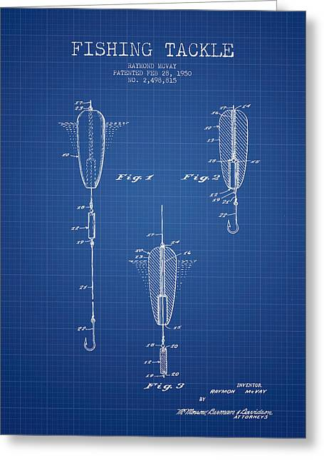 Vintage Fishing Tackle Patent From 1950 - Blueprint Greeting Card by Aged Pixel