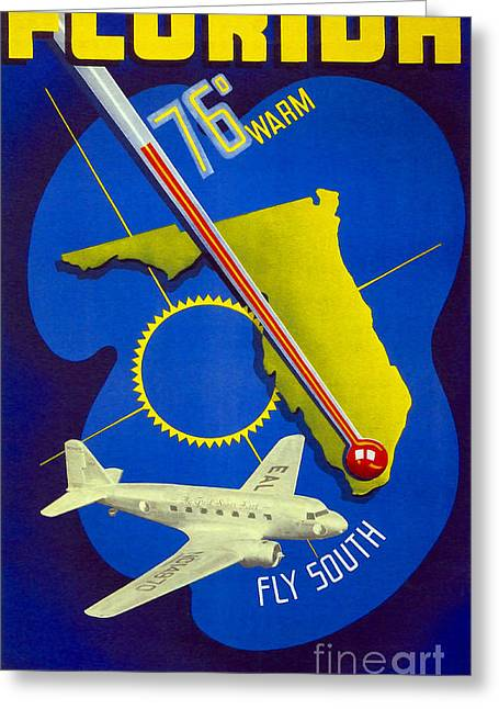 Vintage Florida Travel Poster Greeting Card