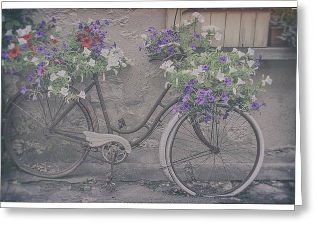 Vintage Flower Bike Greeting Card by Georgia Fowler