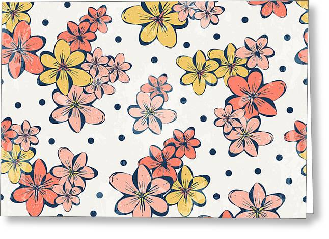 Vintage Flower Pattern Print For Greeting Card