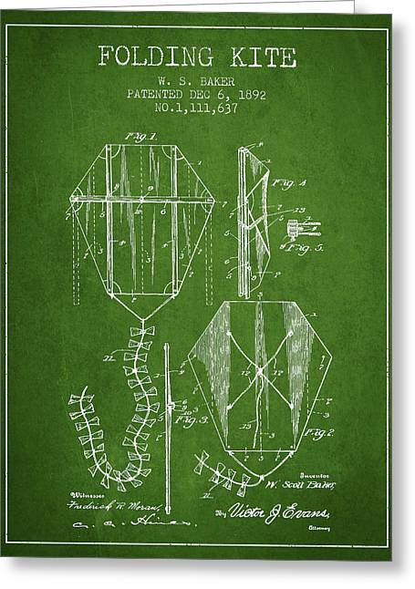 Vintage Folding Kite Patent From 1892 - Green Greeting Card