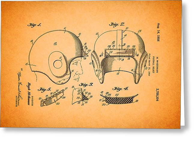 Vintage Football Helmet Patent 1956 Greeting Card by Mountain Dreams