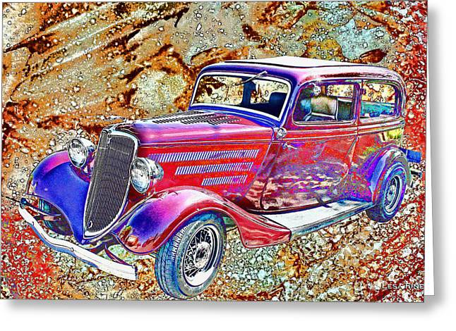Vintage Ford Art Color Sketch Greeting Card by Lesa Fine