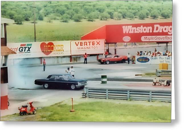 Vintage Ford Drag Racing Greeting Card by Thomas  MacPherson Jr