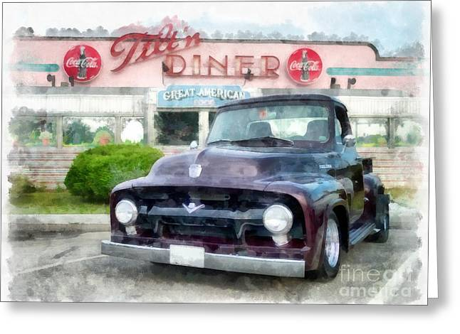 Vintage Ford Pickup At The Diner Greeting Card