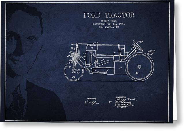 Vintage Ford Tractor Patent Drawing From 1941 Greeting Card