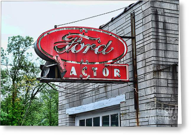Vintage Ford Tractor Sign Greeting Card