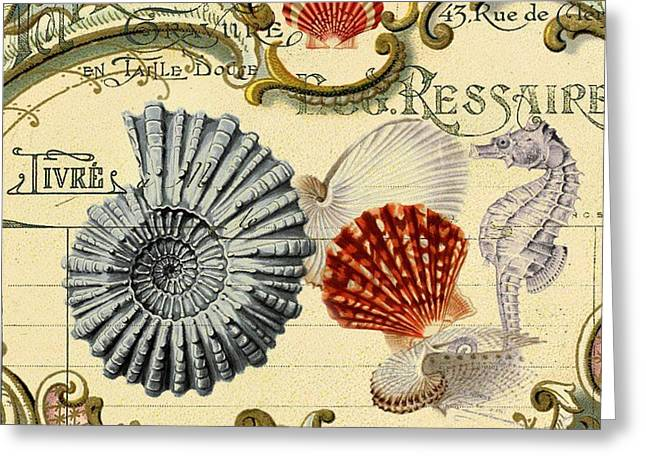 Vintage French Botanical Art Sea Shells Seahorse Still Life Greeting Card by Cranberry Sky