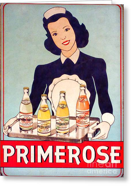 Vintage French Tin Sign Primerose Greeting Card by Olivier Le Queinec