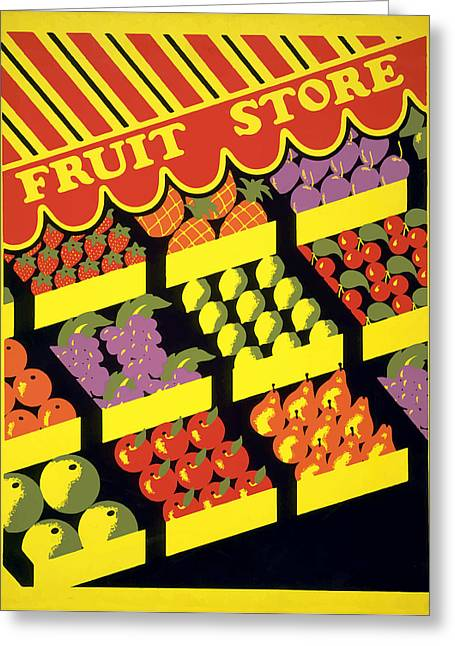 Vintage Fruit Stand Greeting Card by American Classic Art