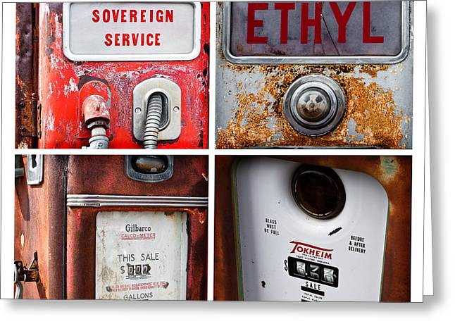 Vintage Fuel Pumps Collage Greeting Card