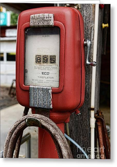 Vintage Gas Station Air Pump 1 Greeting Card by Paul Ward