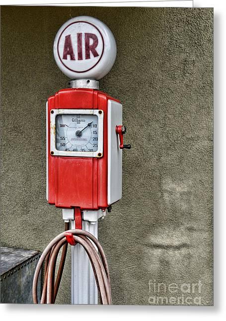 Vintage Gas Station Air Pump 2 Greeting Card by Paul Ward