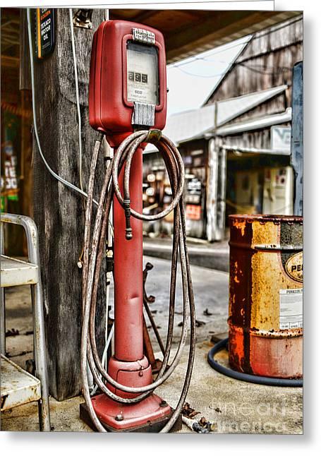 Vintage Gas Station Air Pump 3 Greeting Card by Paul Ward
