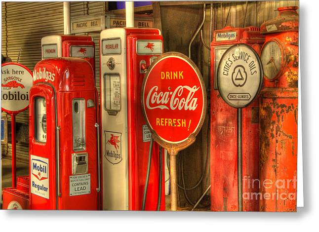 Vintage Gasoline Pumps With Coca Cola Sign Greeting Card by Bob Christopher
