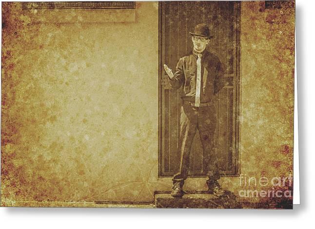 Vintage Gentleman Selling Door To Door Greeting Card by Jorgo Photography - Wall Art Gallery