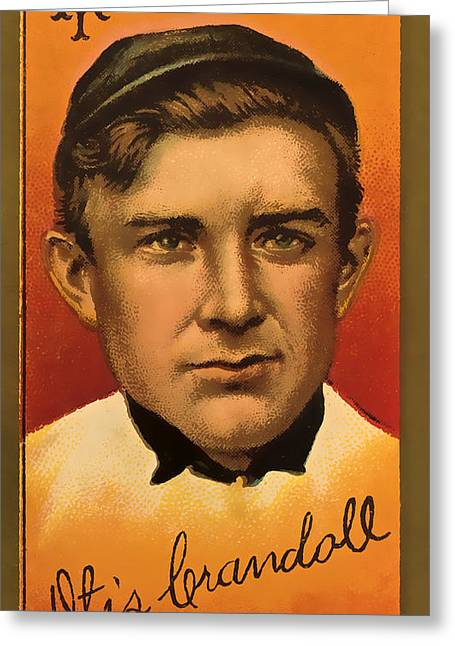 Vintage Giants Baseball Greeting Card by David Letts