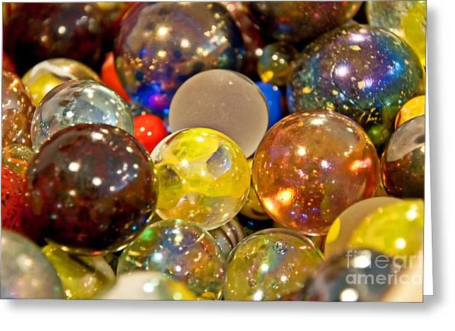 Vintage Glass Marbles Greeting Card by Valerie Garner
