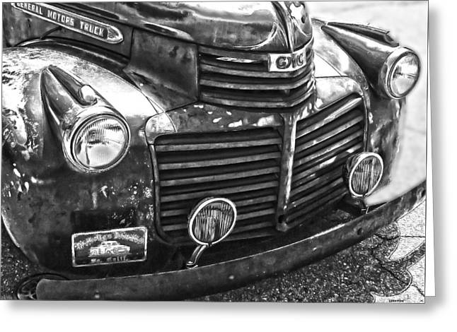 Vintage Gm Truck Frontal Bw Greeting Card