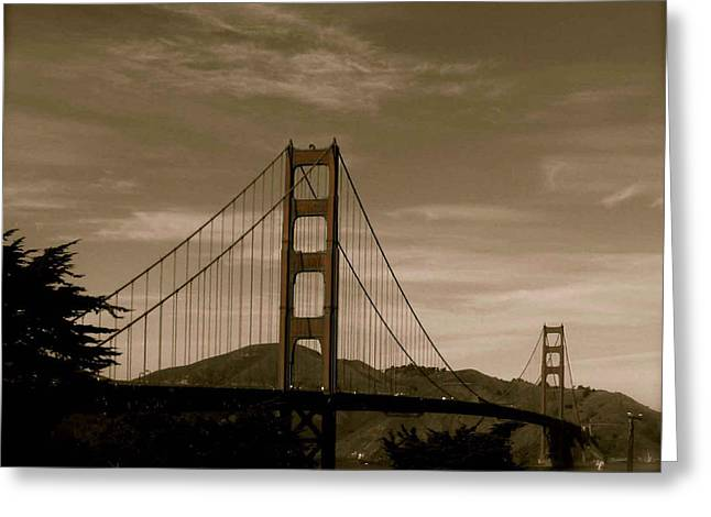 Vintage Golden Gate Greeting Card by Kandy Hurley