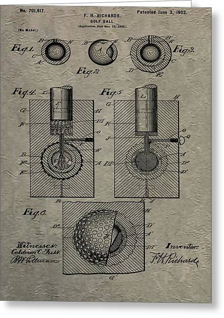 Vintage Golf Ball Patent Greeting Card by Dan Sproul