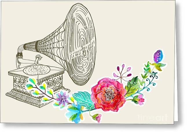 Vintage Gramophone, Record Player Greeting Card