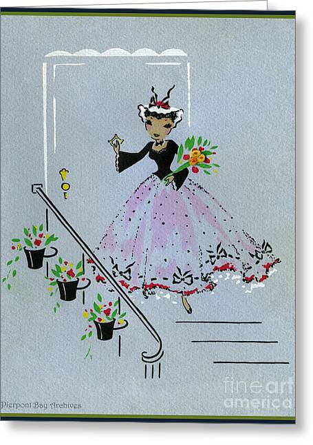 Vintage Greeting. Lady Dressed To The Nines With Flowers Ready For A Party Greeting Card by Pierpont Bay Archives