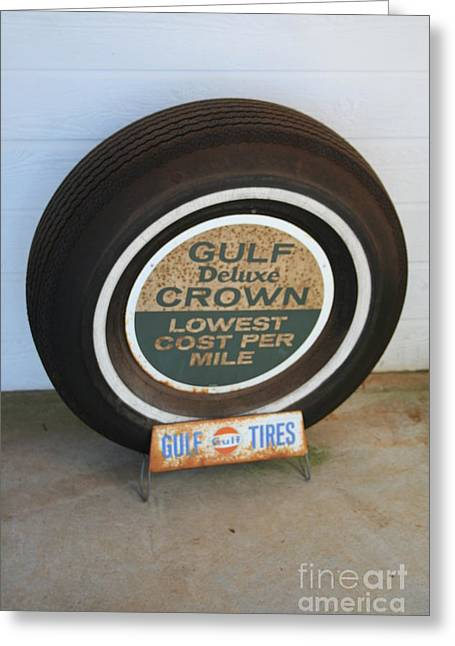 Greeting Card featuring the photograph Vintage Gulf Tire With Ad Plate by Lesa Fine