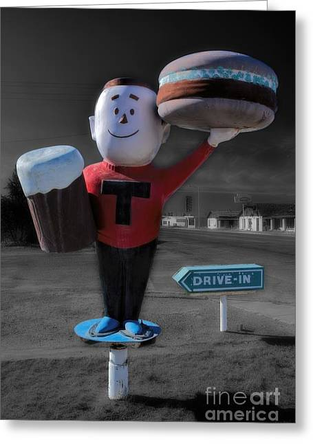 Vintage Hamburger Drive In Greeting Card by Henry Kowalski