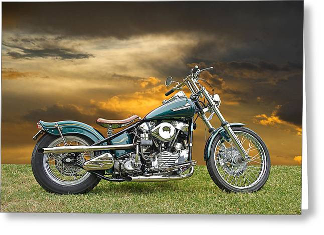 Vintage Harley Knuckle Head Greeting Card by Dave Koontz