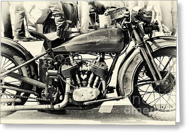 Vintage Harley Greeting Card by Tim Gainey