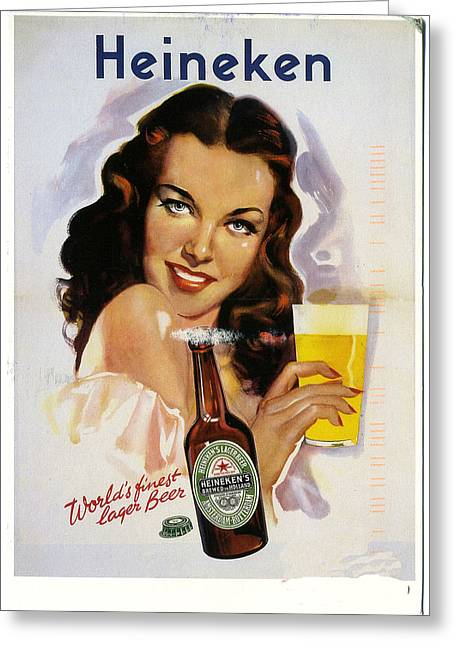 Vintage Heineken Beer Ad Greeting Card by Allen Beilschmidt