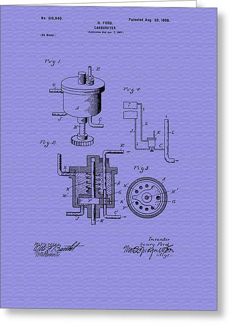 Vintage Henry Ford's Carburetor Patent - 1898 Greeting Card by Mountain Dreams