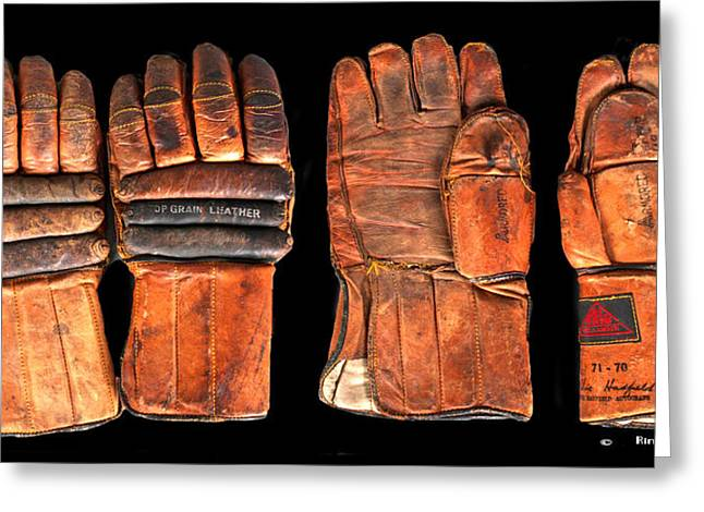 Vintage Hockey Gloves #1 Greeting Card by Spencer Hall