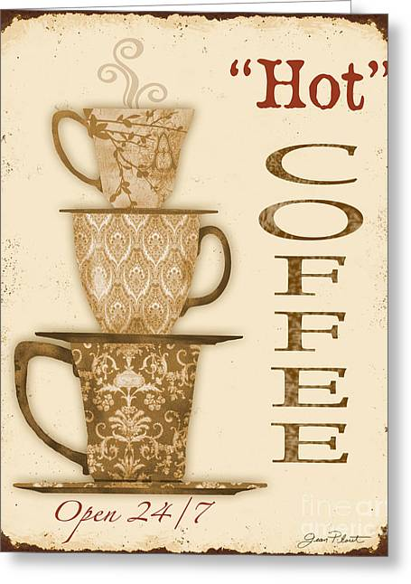 Vintage Hot Coffee Sign Greeting Card by Jean Plout