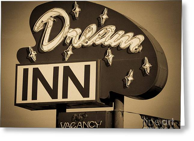 Vintage Hotel - Motel Sign Greeting Card by Gary Whitton