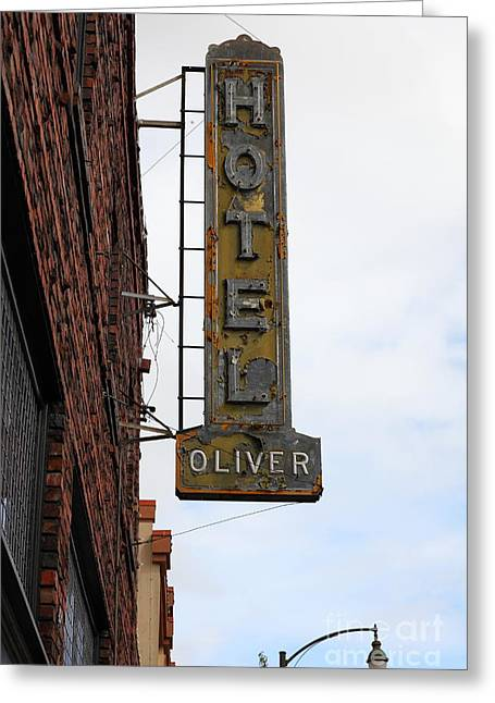 Vintage Hotel Oliver Santa Rosa California 5d25884 Greeting Card by Wingsdomain Art and Photography