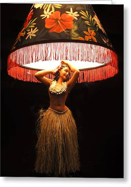 Vintage Hula Girl Lamp Greeting Card