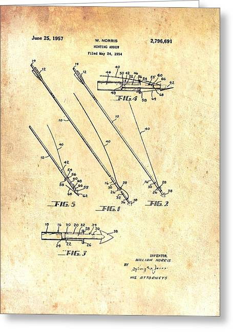 Vintage Hunting Arrow Patent Greeting Card by Mountain Dreams