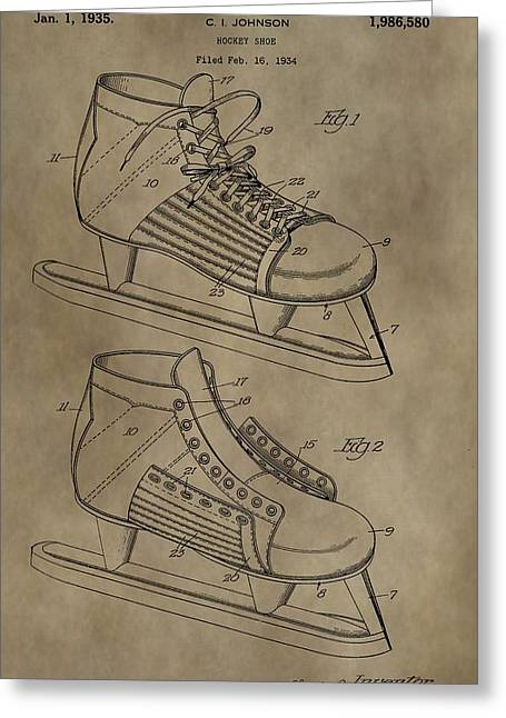 Vintage Ice Skates Patent Greeting Card