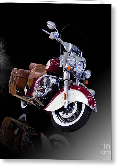 Vintage Indian Motorcycle Misty Night Greeting Card by Debra Chmelina