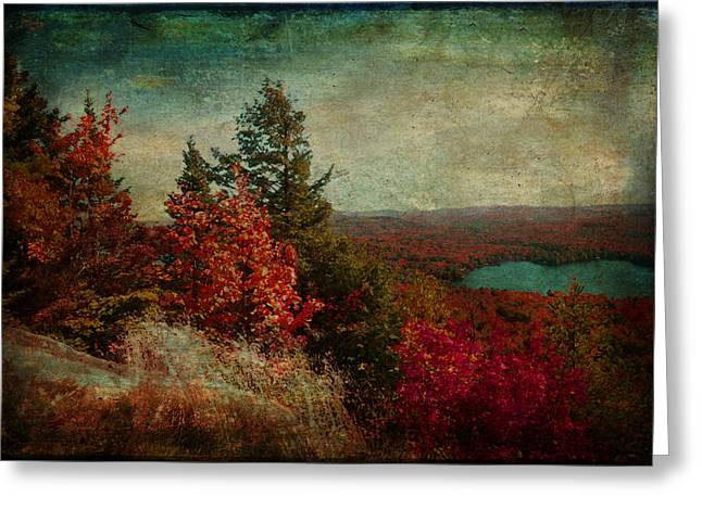 Vintage Inspired Adirondack Mountains In Fall Colors Greeting Card